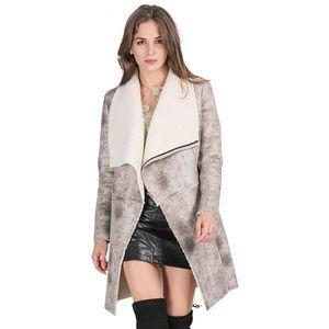 Simplee suede fur coat